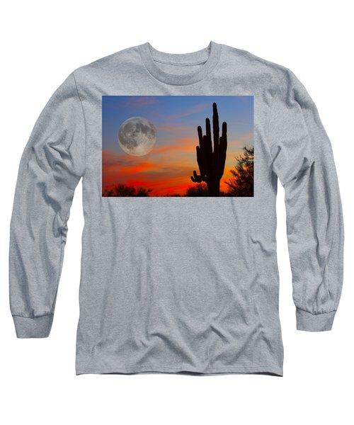 Saguaro Full Moon Sunset Long Sleeve T-Shirt