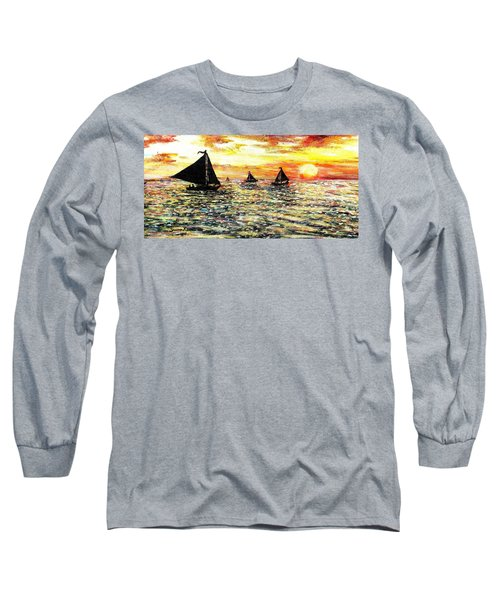 Long Sleeve T-Shirt featuring the painting Sail Away With Me by Shana Rowe Jackson
