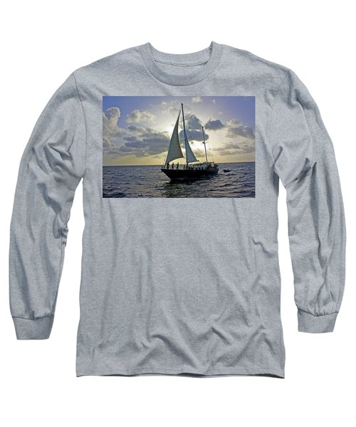 Long Sleeve T-Shirt featuring the photograph Sailing In Aruba by Suzanne Stout