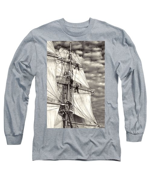 Sailors In Rigging Of Tall Ship Long Sleeve T-Shirt
