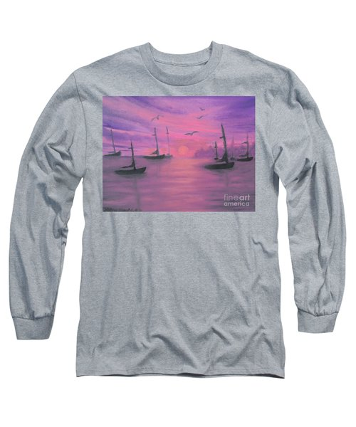 Long Sleeve T-Shirt featuring the painting Sails At Dusk by Holly Martinson