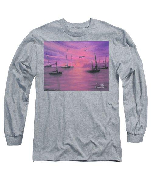 Sails At Dusk Long Sleeve T-Shirt by Holly Martinson