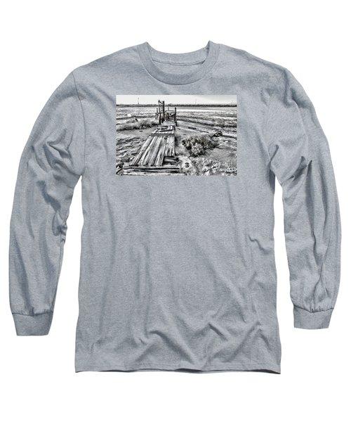 Salton Sea Dock Under Renovation By Diana Sainz Long Sleeve T-Shirt