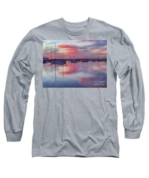 Long Sleeve T-Shirt featuring the digital art San Diego - Sailboats At Sunrise by Lianne Schneider