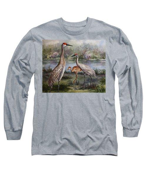 Sandhill Cranes On Alert Long Sleeve T-Shirt by Roxanne Tobaison