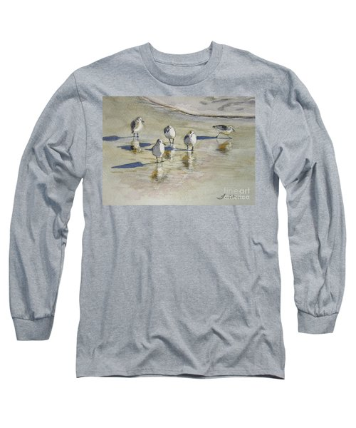 Sandpipers 2 Watercolor 5-13-12 Julianne Felton Long Sleeve T-Shirt