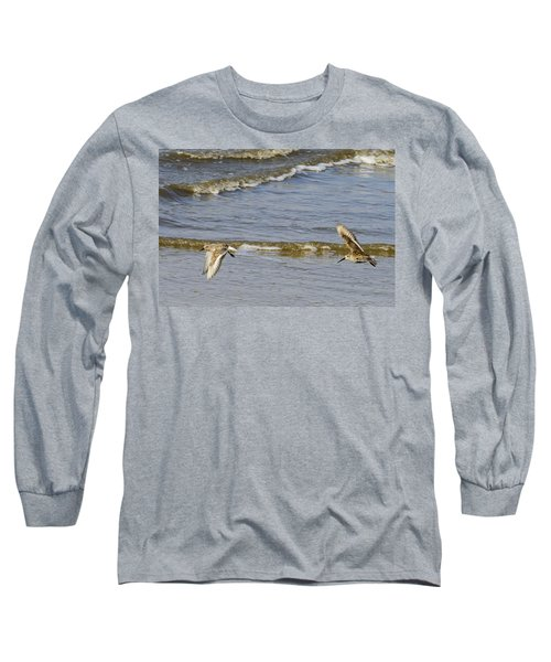 Sandpipers Flying Down The Beach On Jekyll 2013 Long Sleeve T-Shirt