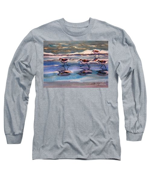 Sandpipers Running In Beach Shade 3-10-15 Long Sleeve T-Shirt