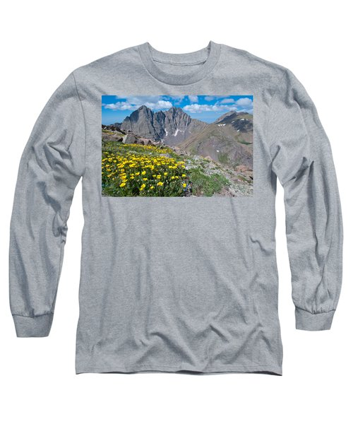 Sangre De Cristos Crestone Peak And Wildflowers Long Sleeve T-Shirt