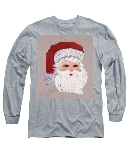 Long Sleeve T-Shirt featuring the painting Santa by Barbara McDevitt
