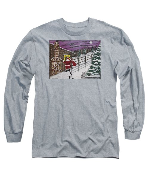 Santa Claus Is Watching Long Sleeve T-Shirt by Jeffrey Koss