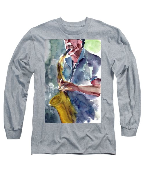 Long Sleeve T-Shirt featuring the painting Saxophonist by Faruk Koksal