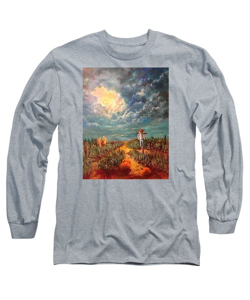 Scarecrow Moon Pumpkins And Mystery Long Sleeve T-Shirt by Randy Burns