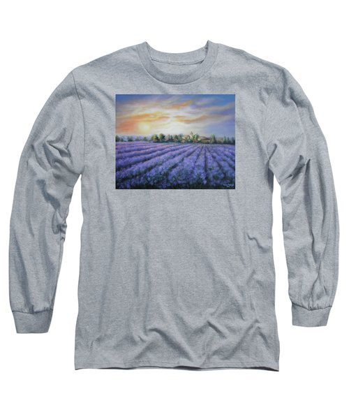 Long Sleeve T-Shirt featuring the painting Scented Field by Vesna Martinjak