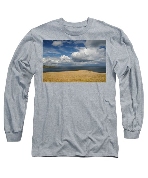 Long Sleeve T-Shirt featuring the photograph Scottish Coastal Wheatfield by Jeremy Voisey