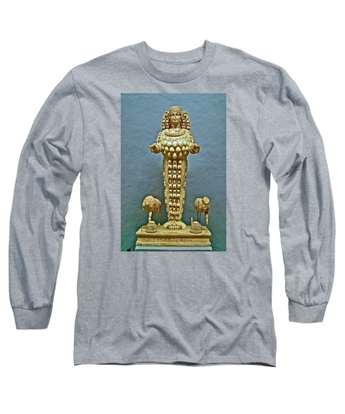 Sculpture Of Artemis-goddess Of Fertility In Ephesus Museum-turkey Long Sleeve T-Shirt by Ruth Hager