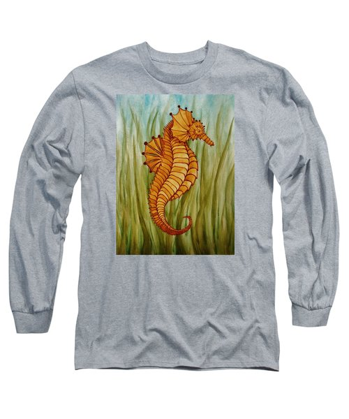 Long Sleeve T-Shirt featuring the painting Sea Horse by Katherine Young-Beck