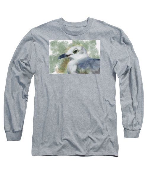 Long Sleeve T-Shirt featuring the painting Seagull Closeup by Greg Collins