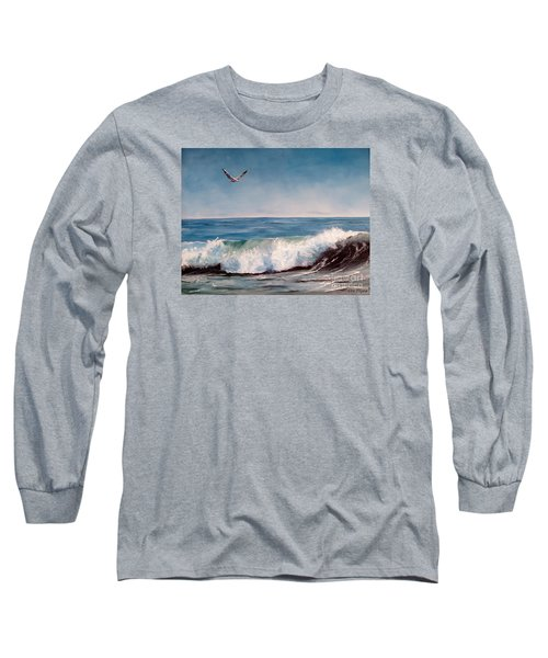 Long Sleeve T-Shirt featuring the painting Seagull With Wave  by Lee Piper