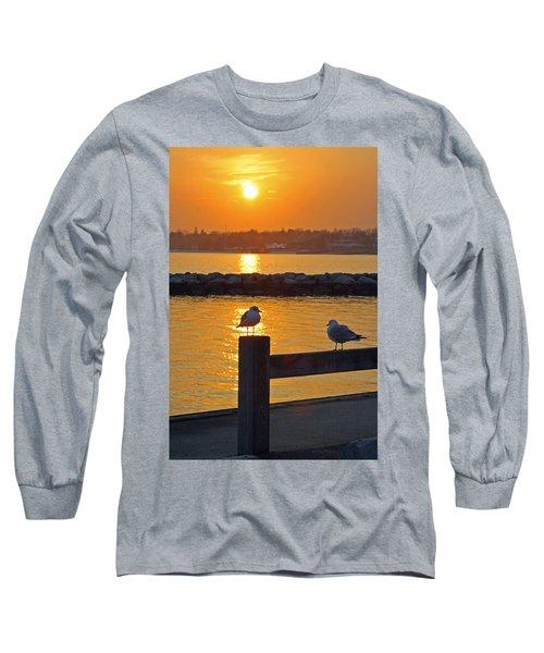 Seaguls At Sunset Long Sleeve T-Shirt