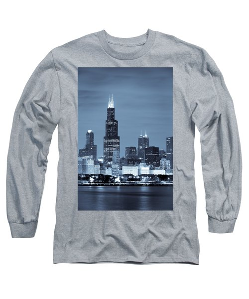 Long Sleeve T-Shirt featuring the photograph Sears Tower In Blue by Sebastian Musial