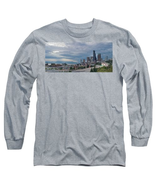 Long Sleeve T-Shirt featuring the photograph Seattle Downtown Skyline And Freeway Panorama by JPLDesigns