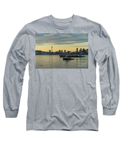 Seattles Working Harbor Long Sleeve T-Shirt by Mike Reid