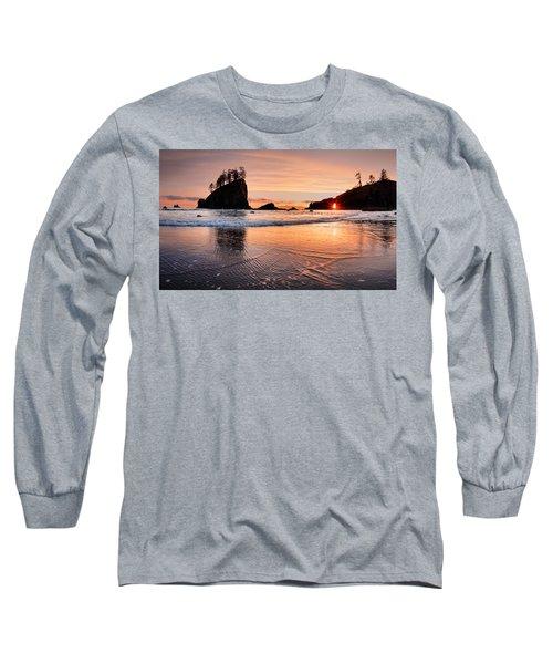 Second Beach Sunset Long Sleeve T-Shirt by Leland D Howard