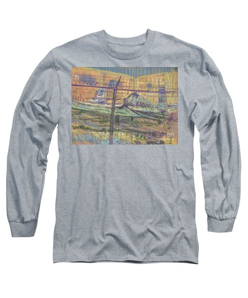 Long Sleeve T-Shirt featuring the painting Secured Planes by Donald Maier