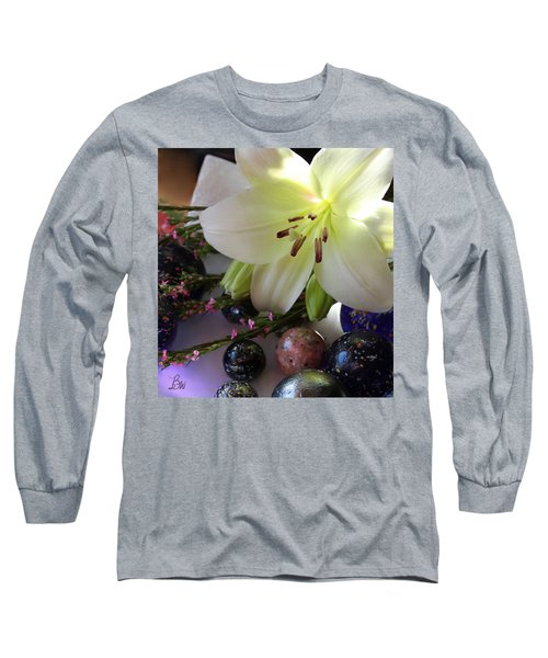 Long Sleeve T-Shirt featuring the photograph Send The Light Lily With Marbles by Bonnie Willis