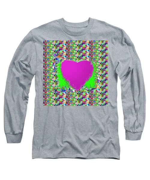 Long Sleeve T-Shirt featuring the photograph Sensual Pink Heart N Star Studded Background by Navin Joshi