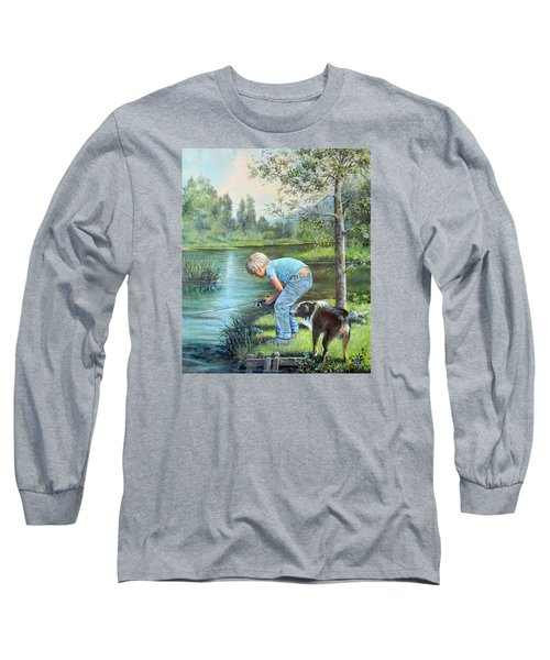 Long Sleeve T-Shirt featuring the painting Seth And Spiky Fishing by Donna Tucker