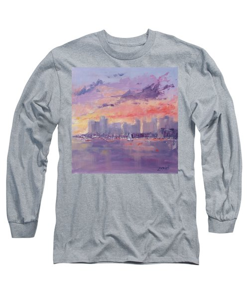 Setting Sun Over Boston  Long Sleeve T-Shirt by Laura Lee Zanghetti