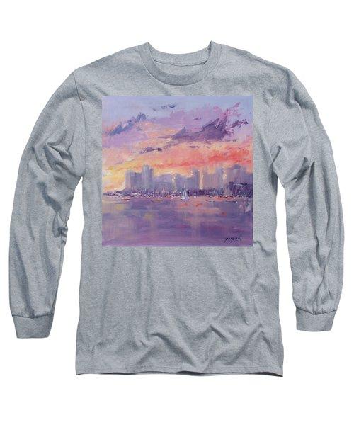 Setting Sun Over Boston  Long Sleeve T-Shirt