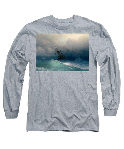 Ship On Stormy Seas Long Sleeve T-Shirt by Ivan Konstantinovich Aivazovsky