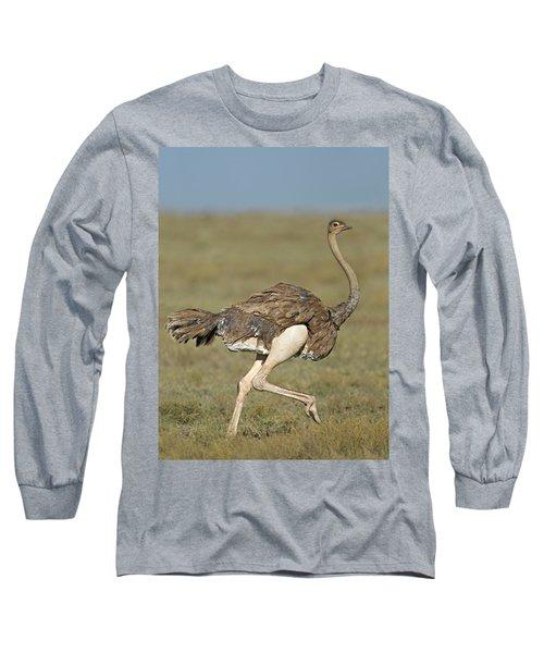 Side Profile Of An Ostrich Running Long Sleeve T-Shirt