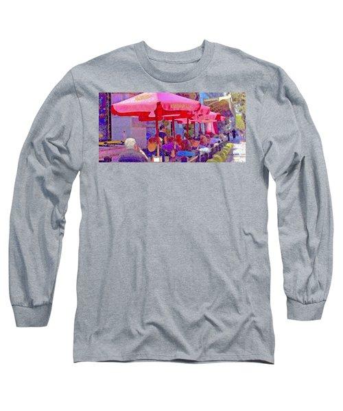 Sidewalk Cafe Digital Painting Long Sleeve T-Shirt