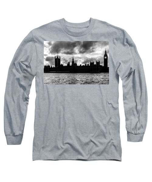 Silhouette Of  Palace Of Westminster And The Big Ben Long Sleeve T-Shirt by Semmick Photo