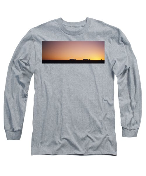 Silhouette Of Two Trucks Moving Long Sleeve T-Shirt