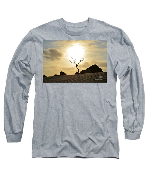 Silhouetted Tree At Dawn In Aruba Long Sleeve T-Shirt
