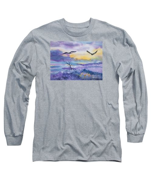 Long Sleeve T-Shirt featuring the painting Sister Ravens by Ellen Levinson