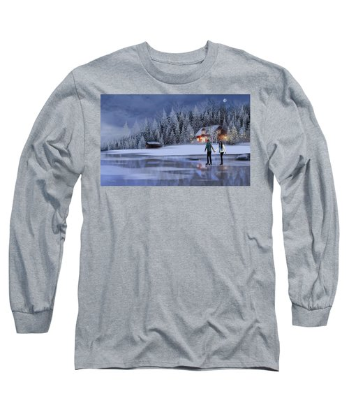 Skating At Christmas Night Long Sleeve T-Shirt