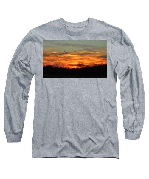 Sky At Sunset Long Sleeve T-Shirt by Cynthia Guinn