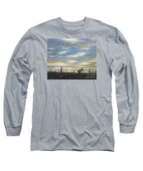 Long Sleeve T-Shirt featuring the painting Sky by Vesna Martinjak