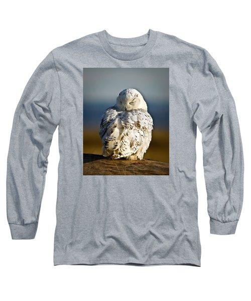 Sleeping Snowy Owl Long Sleeve T-Shirt by Steve McKinzie