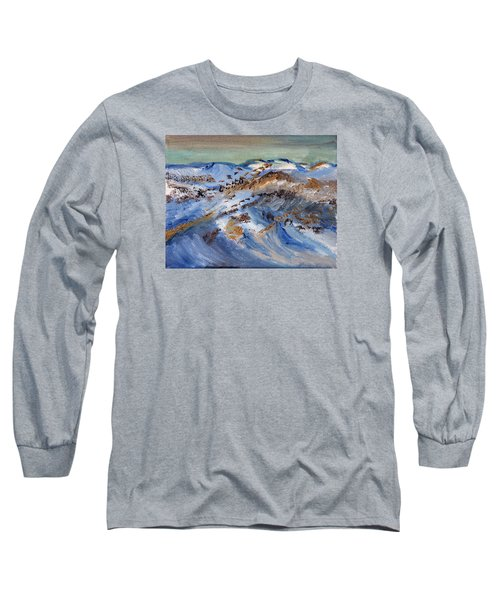 Long Sleeve T-Shirt featuring the painting Snow Covered Sand Dunes Of Cape Cod by Michael Helfen