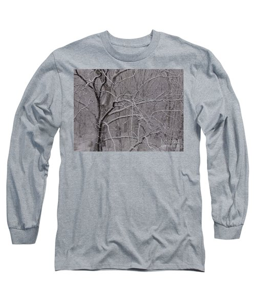 Snow In The Trees At Bulls Island Long Sleeve T-Shirt