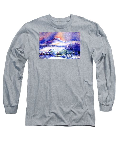 Snowstorm Over Eagle Hill Hacketstown  Long Sleeve T-Shirt by Trudi Doyle
