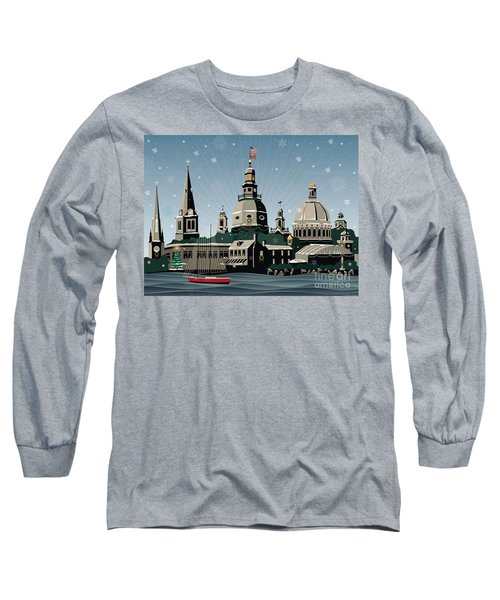 Snowy Annapolis Holiday Long Sleeve T-Shirt