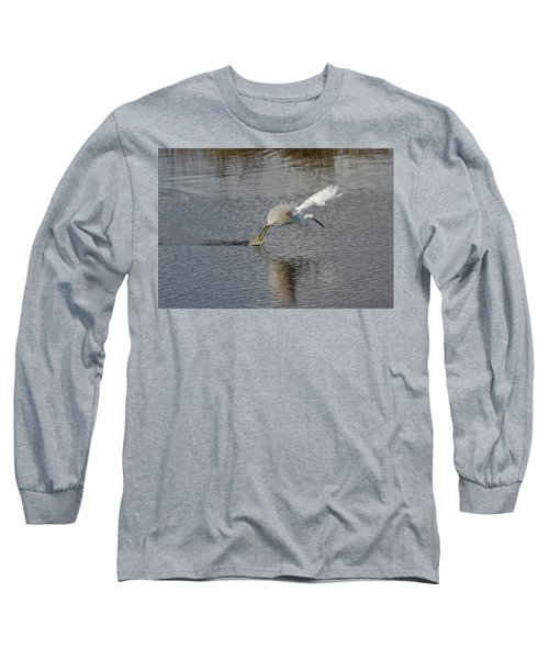 Long Sleeve T-Shirt featuring the photograph Snowy Egret Wind Sailing by John M Bailey